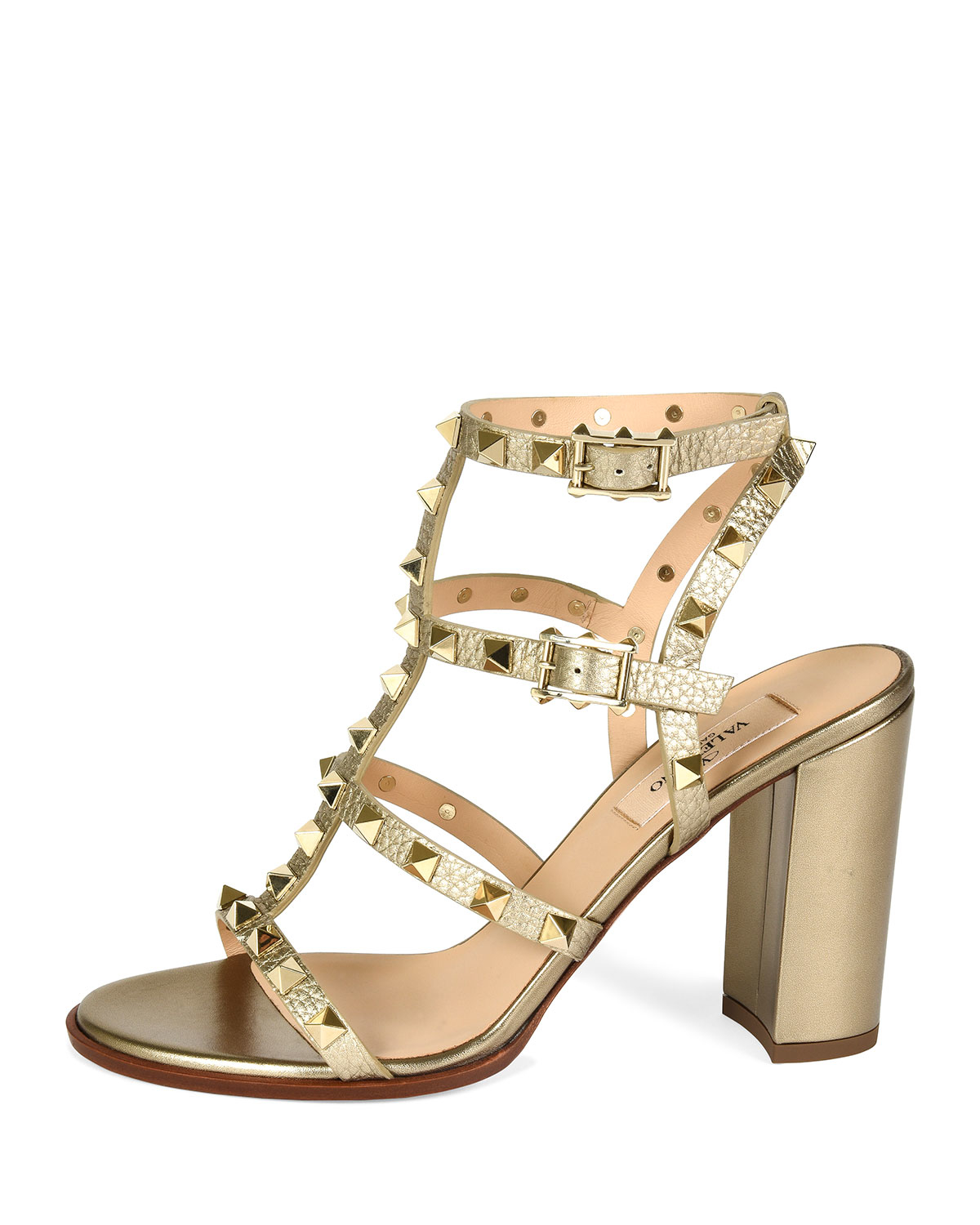 4316ff98e12 Lyst - Valentino Rockstud 90mm Metallic-Leather Sandals in Metallic