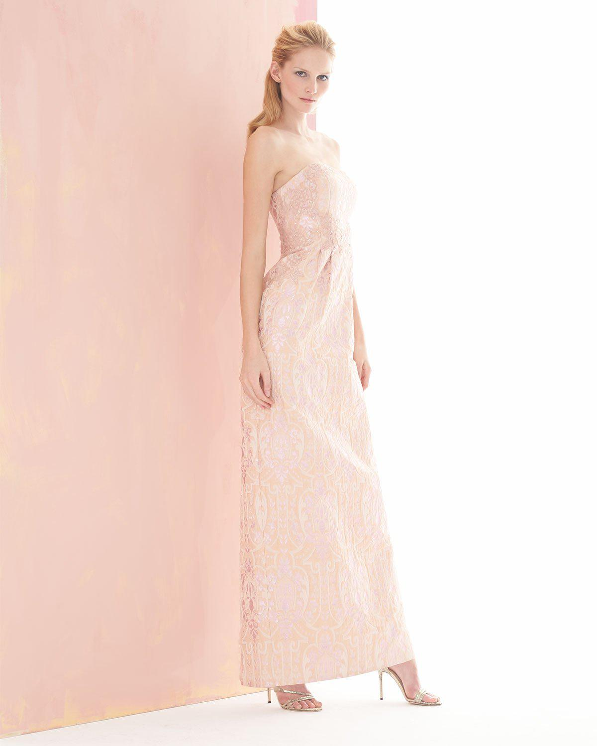 Lyst - Kay Unger Strapless Sequined Jacquard Column Gown in Pink