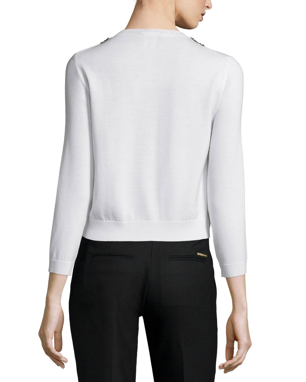 Oscar de la renta 3 4 sleeve lace inset cardigan in white lyst