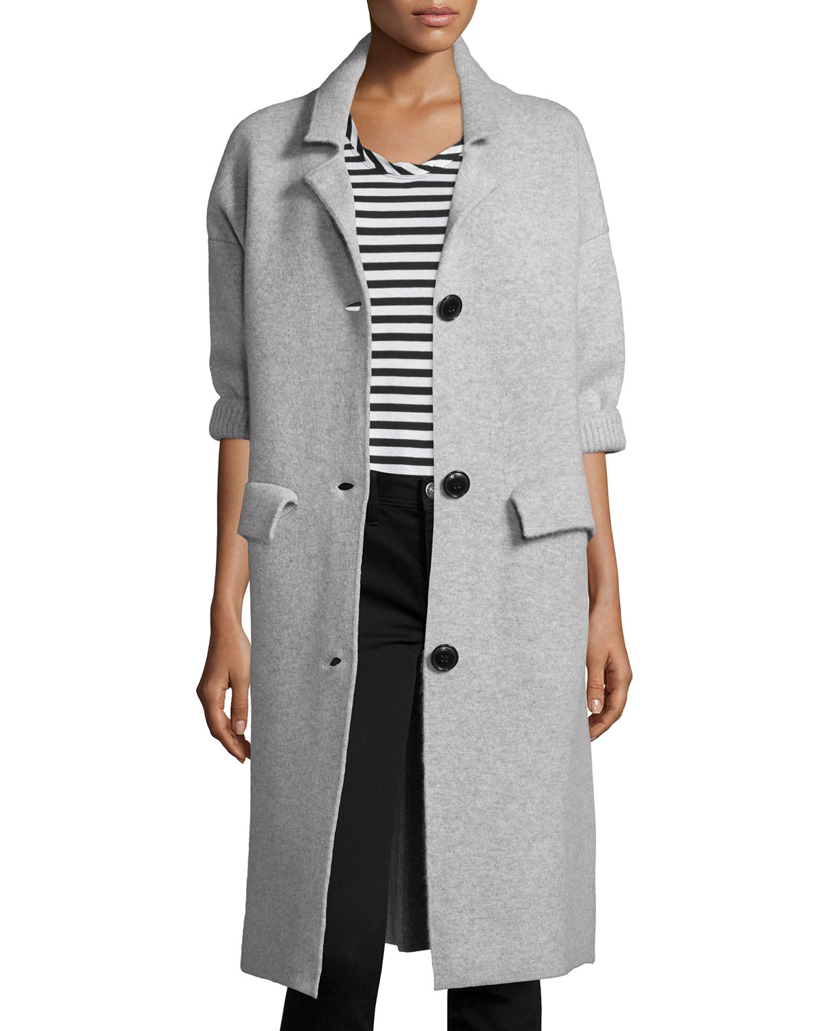 Burberry brit Three-button Maxi Cardigan Coat in Gray | Lyst