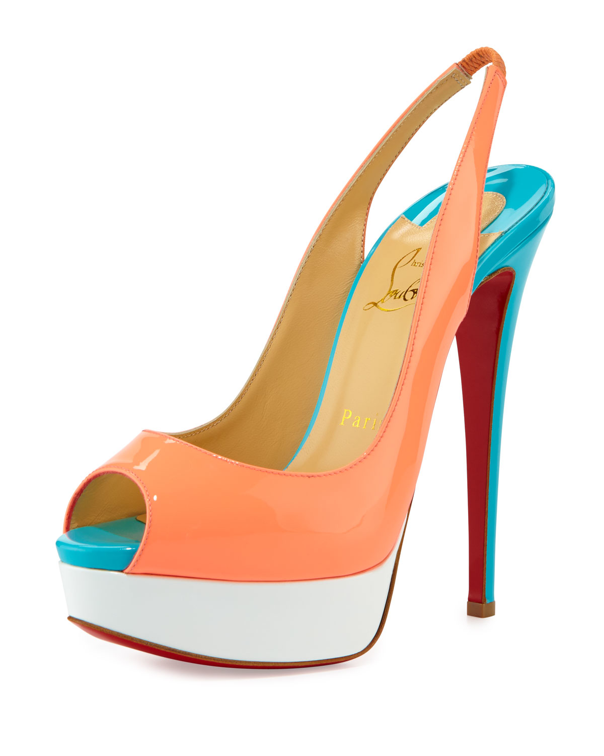Lyst - Christian Louboutin Lady Color-Blocked Patent-Leather Pumps ... 3222f54eaa