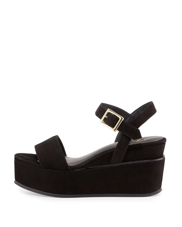 b26bf9c6002c Lyst - Delman Angie Nubuck Wedge Sandal in Black