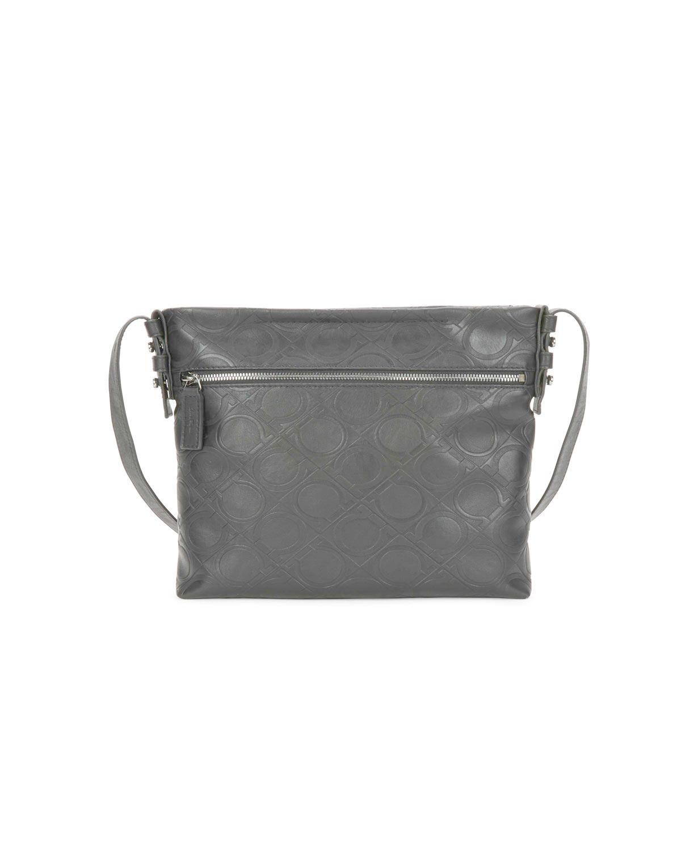 3ca4e65db6 Lyst - Ferragamo Men s Gancini-embossed Vegan-leather Shoulder Bag ...