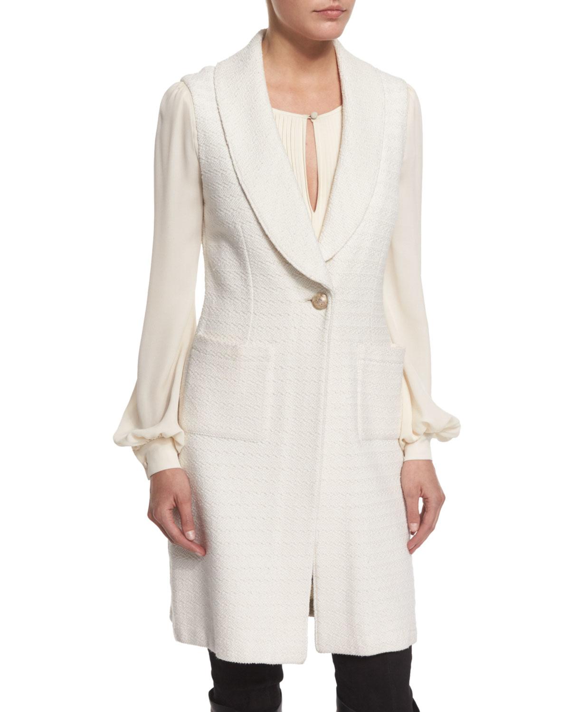 Knitting Pattern For Shawl Collar Vest : St. john Yani Knit Shawl-collar Vest in White Lyst