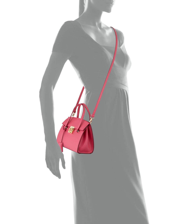522878618424 Lyst - Ferragamo Mara Lock Story Mini Satchel Bag in Red