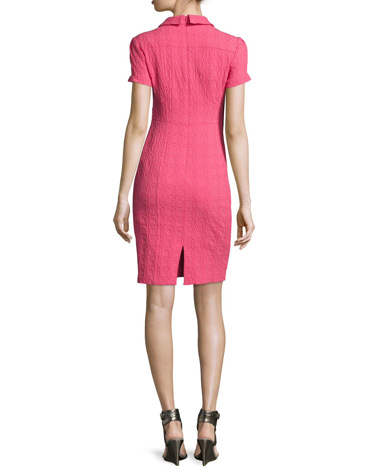 Nanette lepore Short-sleeve Textured Sheath Dress in Pink ...