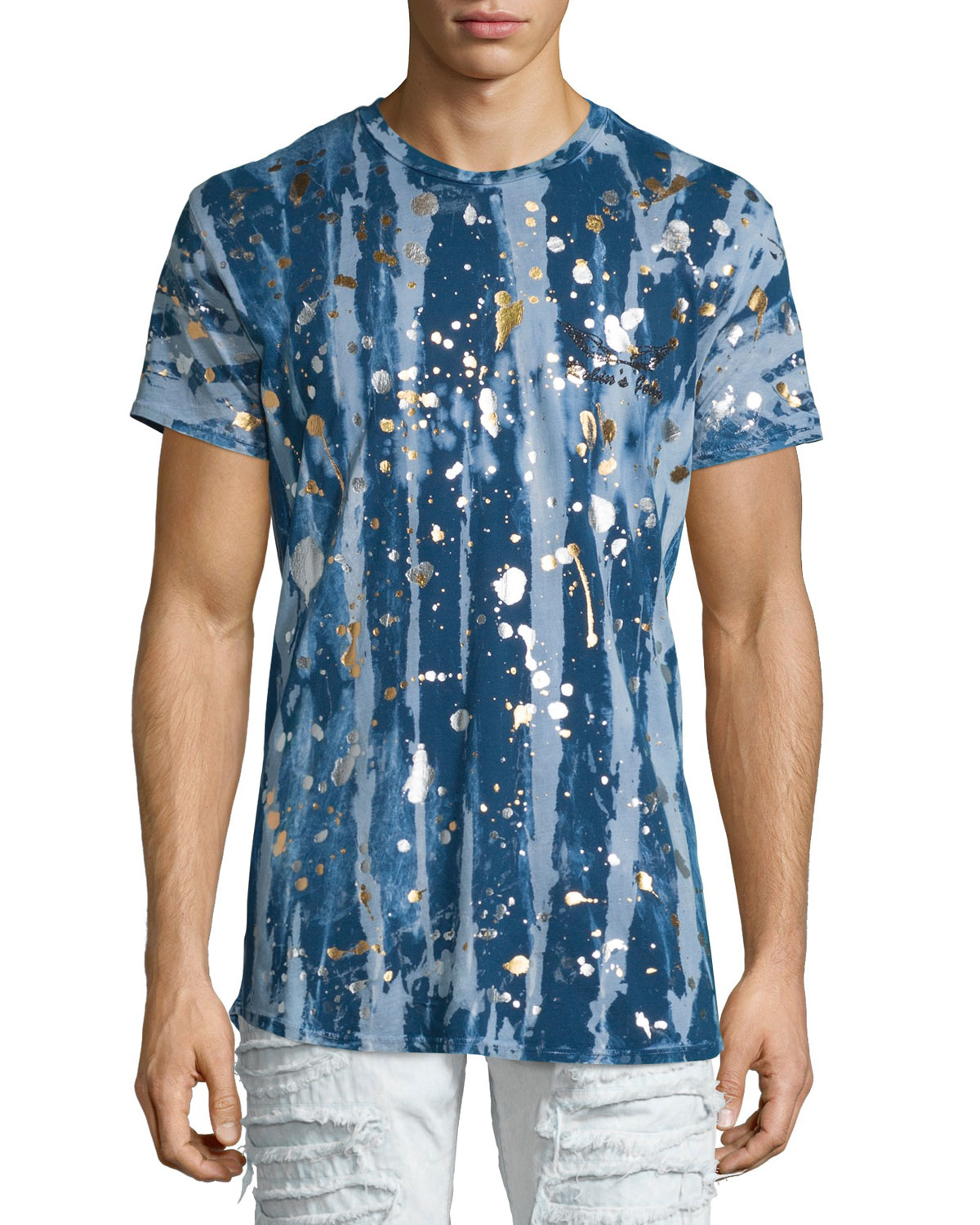 Robin 39 s jean gold paint splatter printed short sleeve t for Silver jeans t shirts