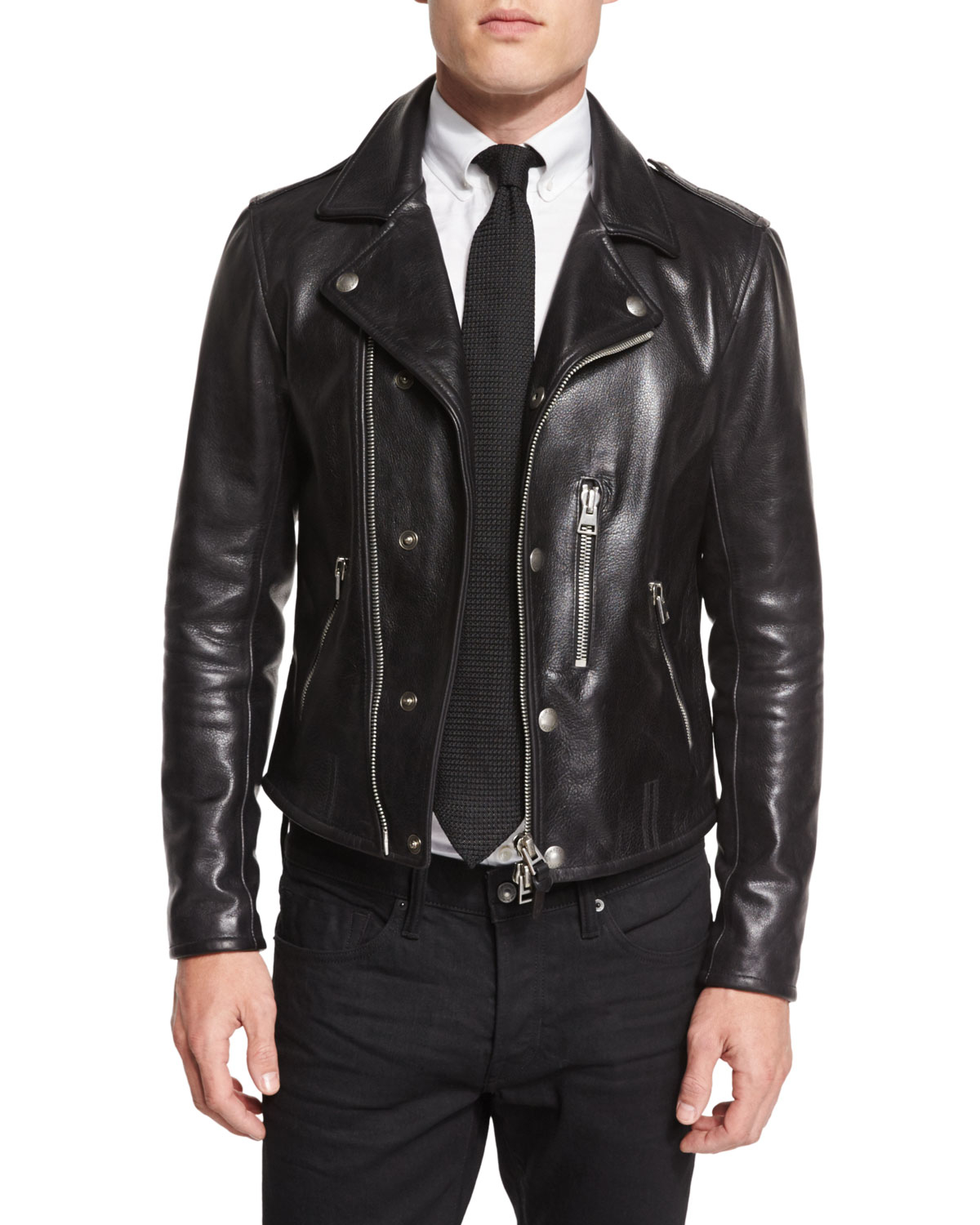 tom ford asymmetric leather biker jacket in black for men. Black Bedroom Furniture Sets. Home Design Ideas