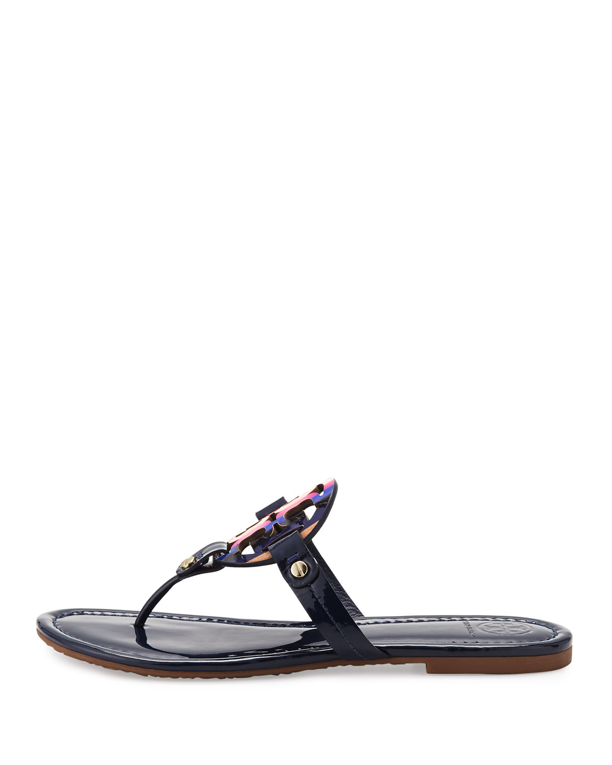 fed9ebe32eb4 Lyst - Tory Burch Miller Rainbow Patent-Leather Logo Sandals in Black