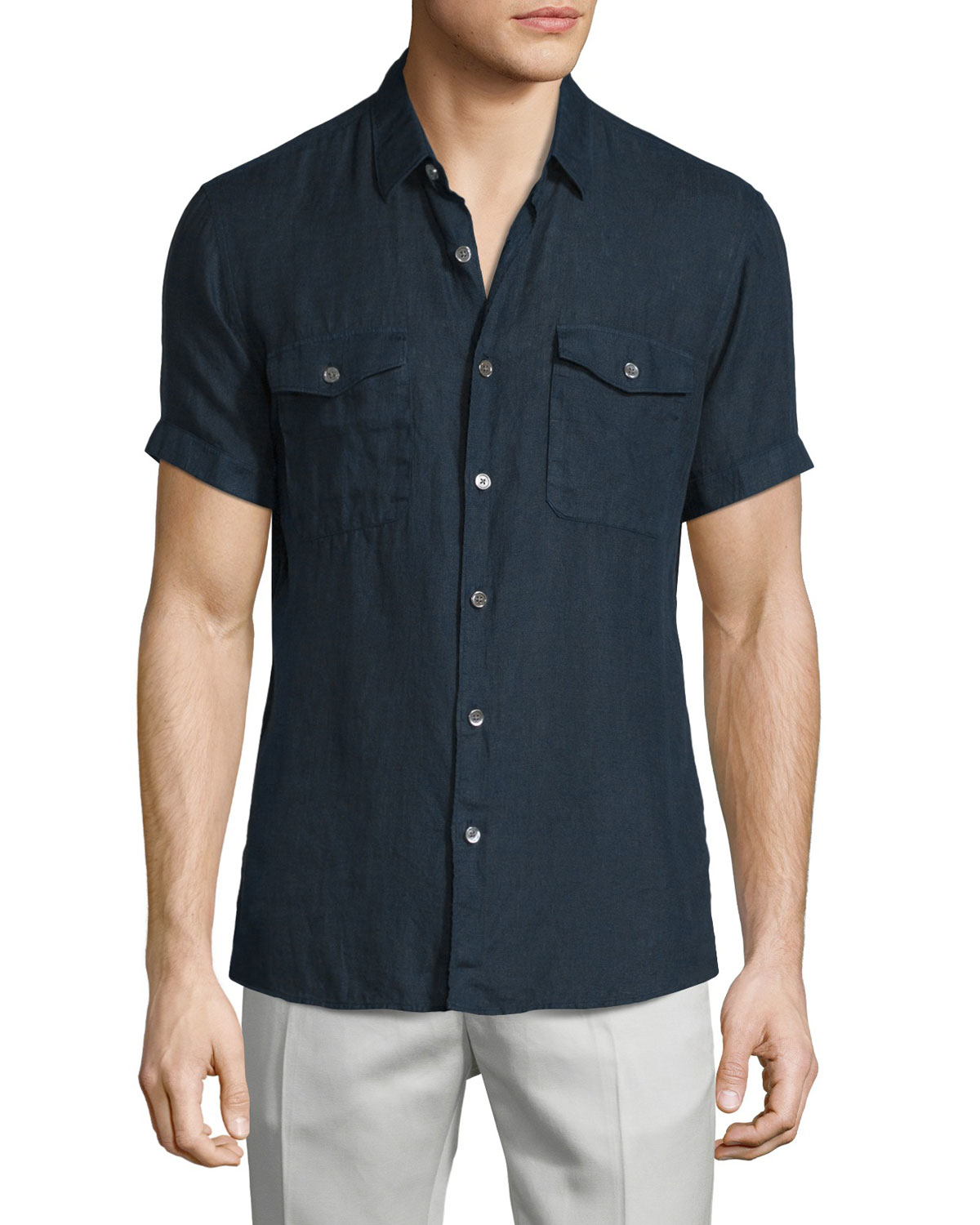 Theory Short-sleeve Linen Shirt in Black for Men | Lyst