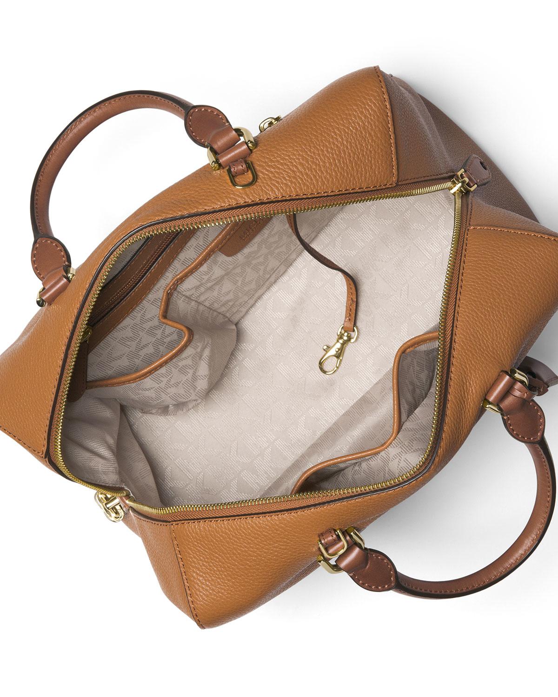 d9a50de5cc ... Lyst - Michael Michael Kors Kirby Large Leather Satchel Bag ...