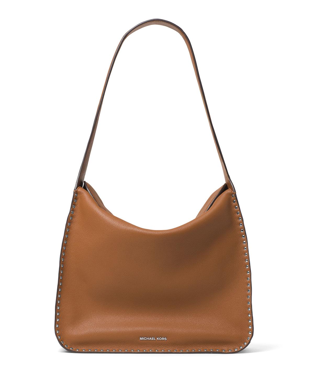 michael michael kors astor large studded leather hobo bag in brown lyst. Black Bedroom Furniture Sets. Home Design Ideas