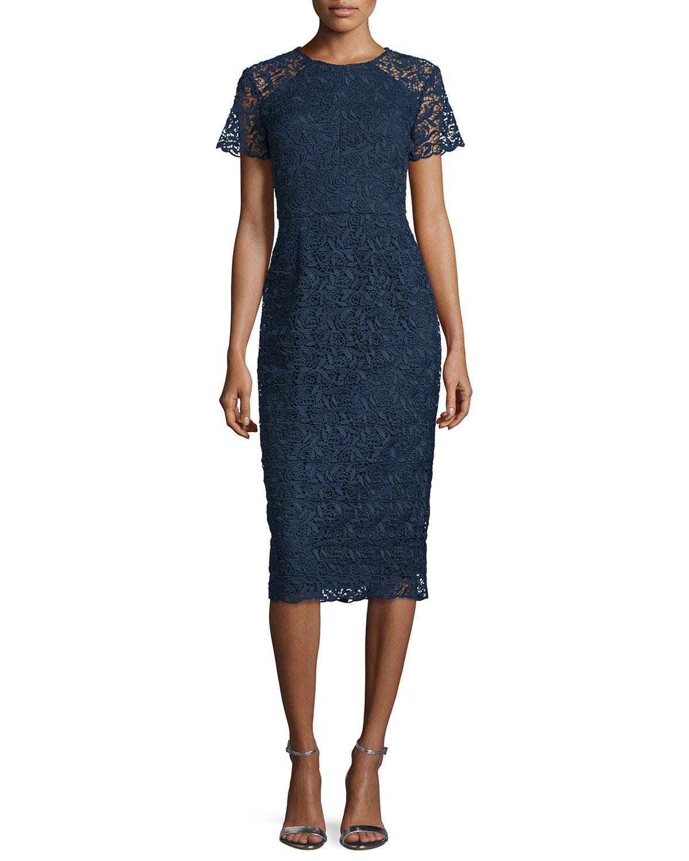 shoshanna shortsleeve florallace sheath dress in blue