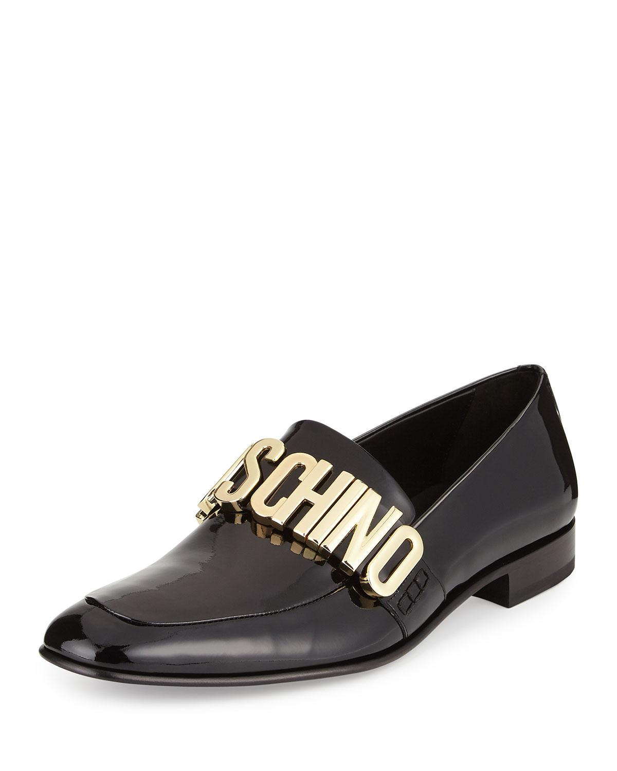 Lyst Moschino Patent Leather Loafer W Logo Lettering In