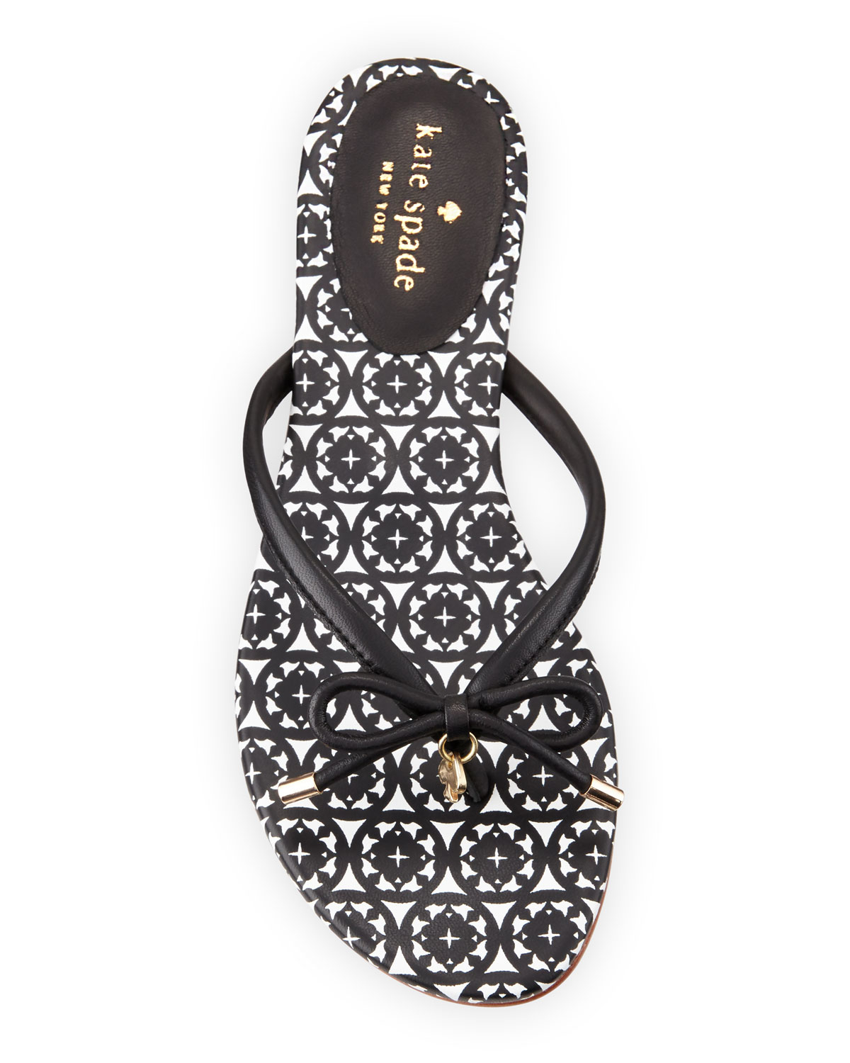 Kate Spade New York Mistic Bow Flat Thong Sandals In Black