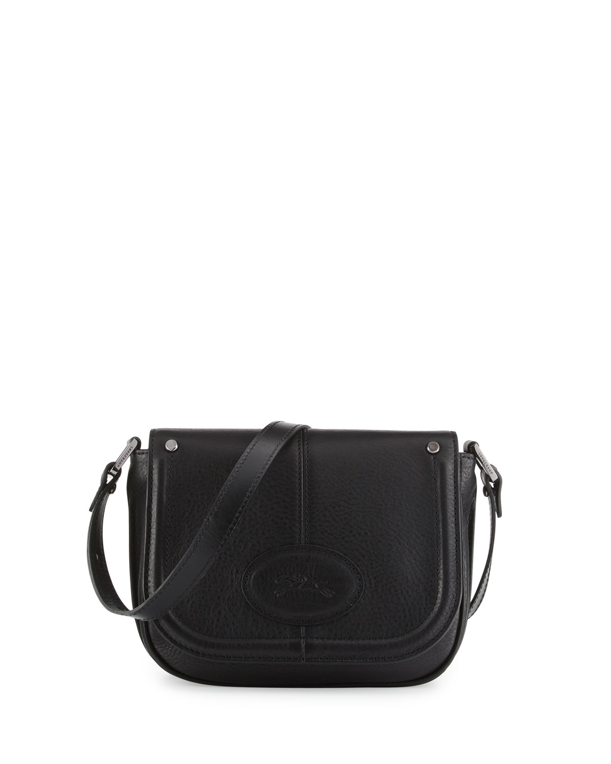 Longchamp Mystery Small Leather Crossbody Bag in Black