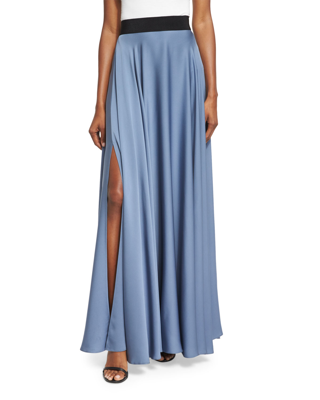 milly silk a line maxi skirt in blue denim lyst