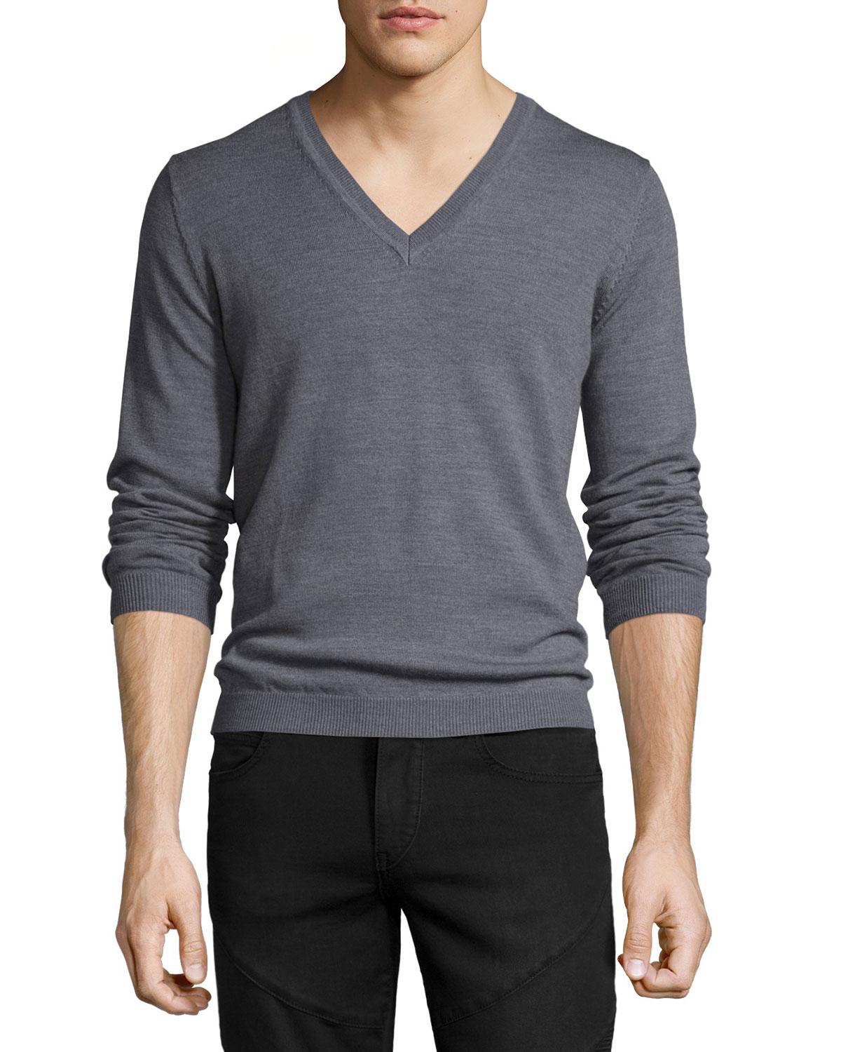 just cavalli long sleeve v neck wool sweater in gray for men lyst. Black Bedroom Furniture Sets. Home Design Ideas