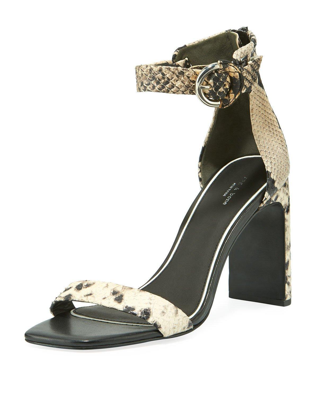 7146de327ec Women's Black Ellis Snake-print Leather Ankle-strap Sandals