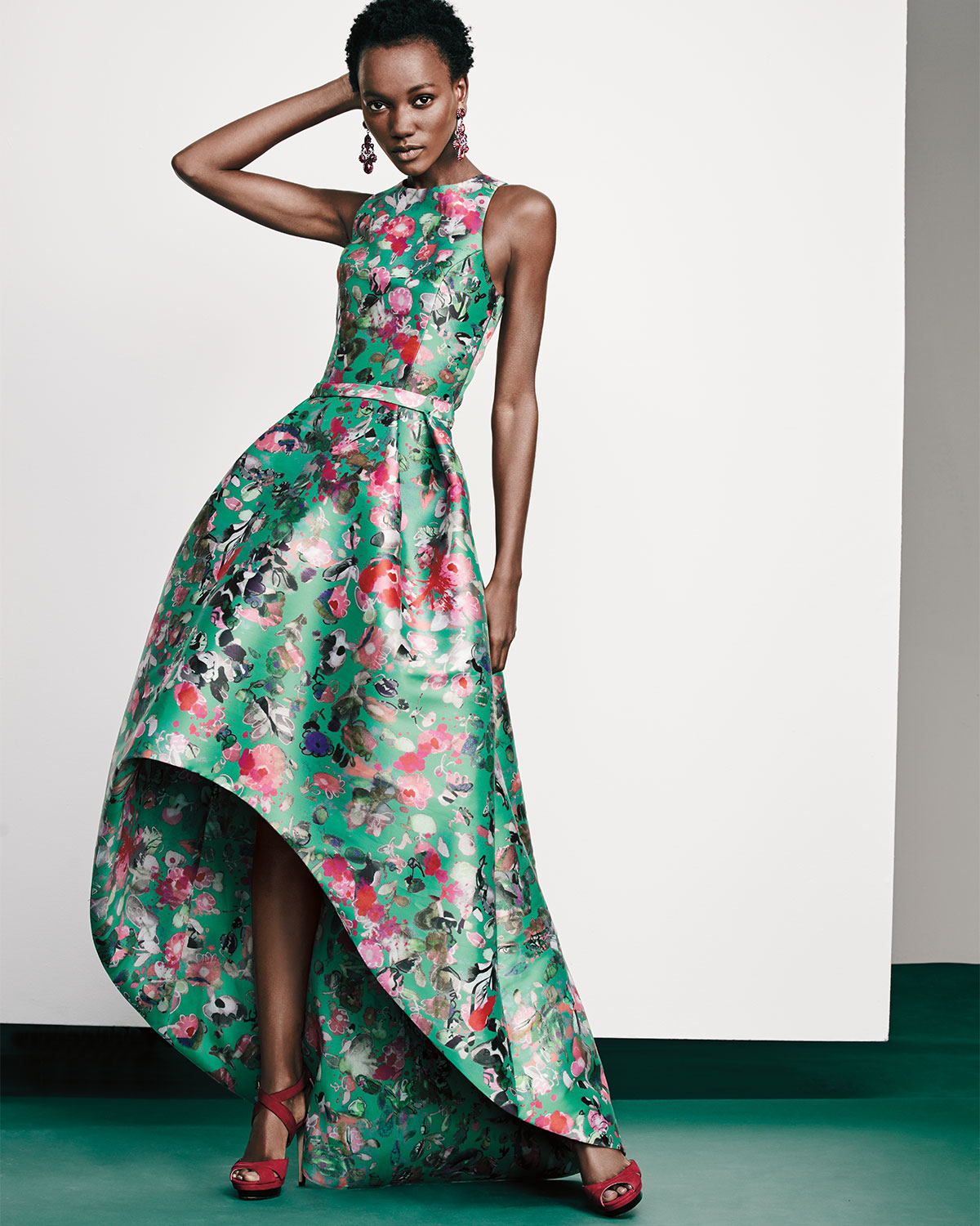 Lyst - Ml Monique Lhuillier Sleeveless Floral Mikado High-low Gown
