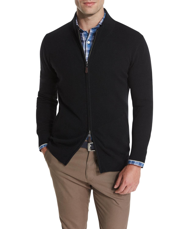 Peter Millar Cashmere Two Way Front Zip Jacket In Black
