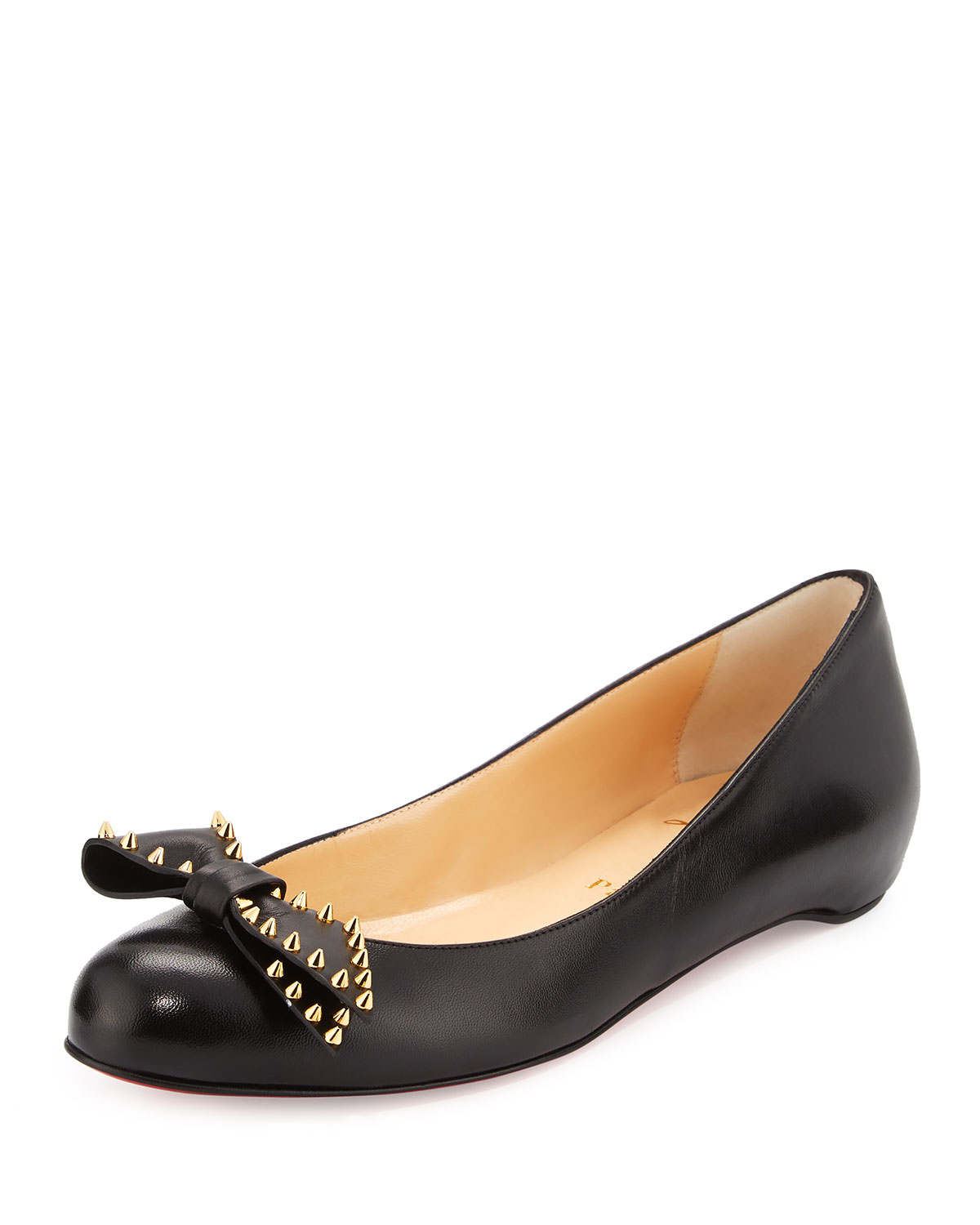 48fbf1cacb87 Lyst - Christian Louboutin Spike-bow Leather Red Sole Ballerina Flat ...