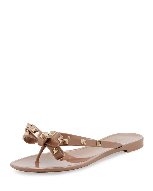 d9920940b2c6 Lyst - Valentino Rockstud Pvc Thong Sandal in Brown