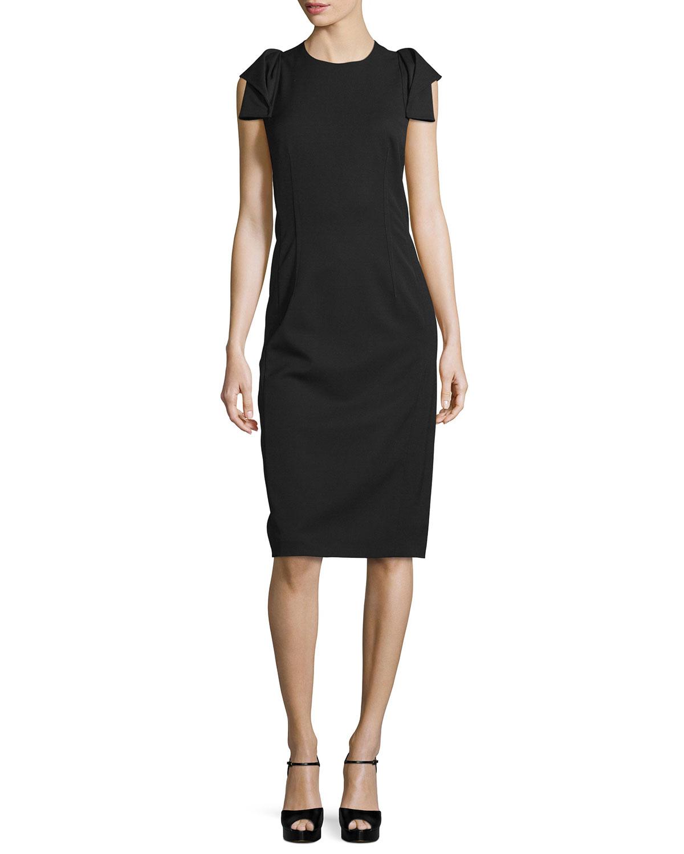 d866d9ae473c Lyst - Michael Kors Origami-sleeve Sheath Dress in Black