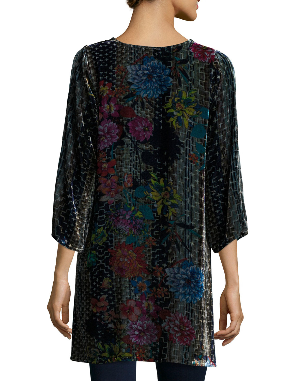 Lyst - Johnny Was Tappa Floral-print Velvet Tunic in Blue