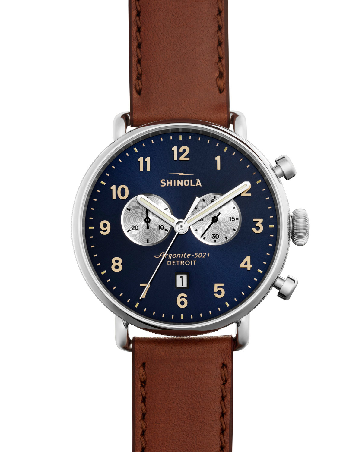 Shinola 43mm canfield chronograph watch in brown for men lyst for Shinola watches