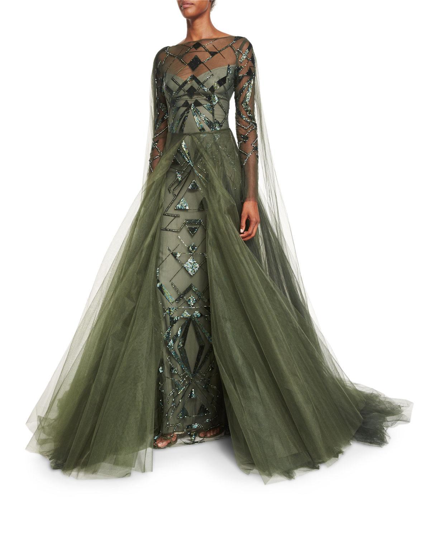 Lyst - Monique Lhuillier Geometric-beaded Long-sleeve Cape Gown