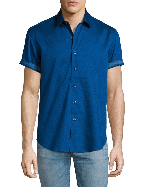 robert graham vertigo short sleeve sport shirt in white