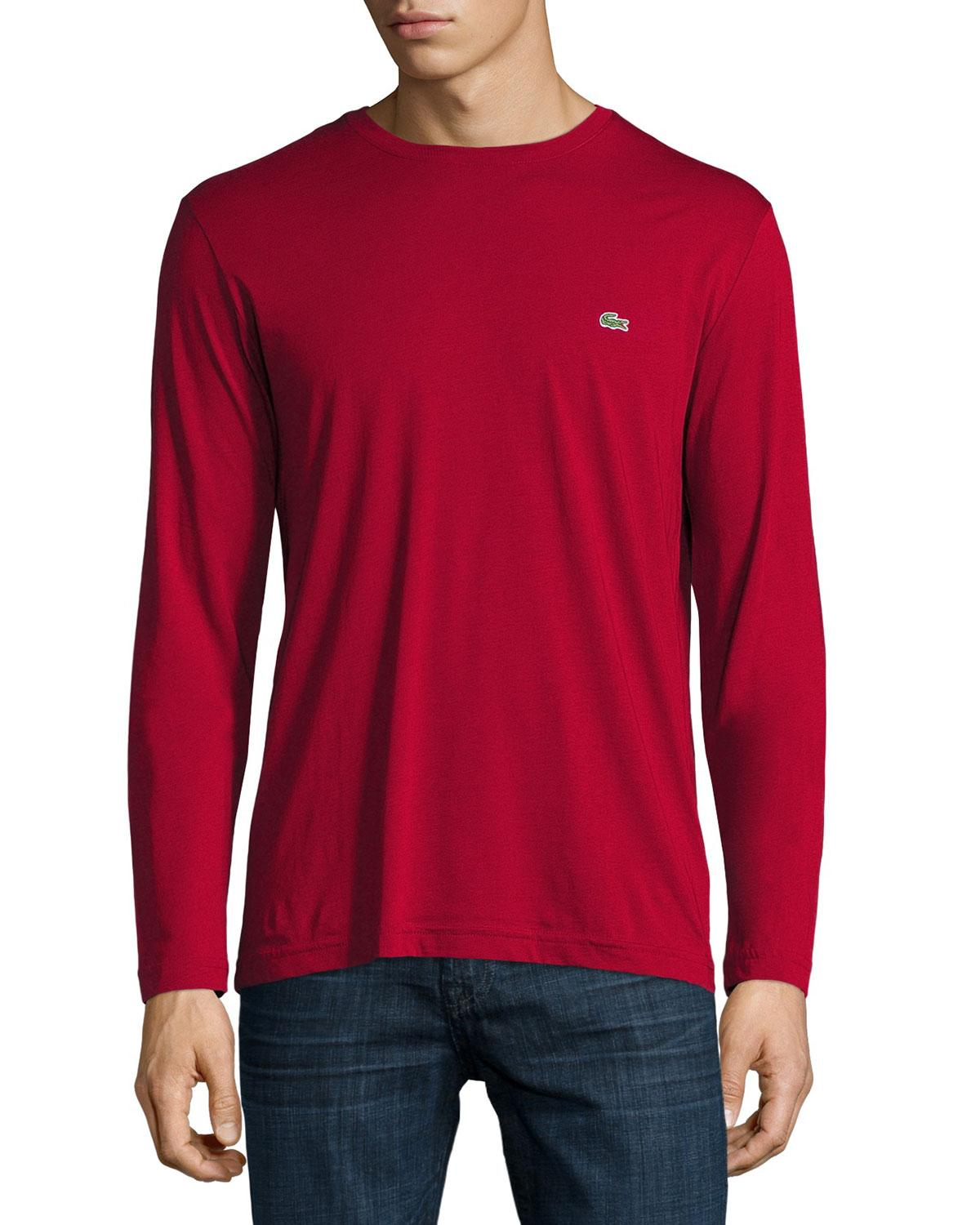 Lacoste three pack pima cotton long sleeve t shirts for for Pima cotton tee shirts