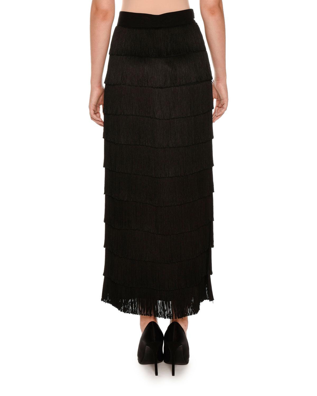 stella mccartney tiered fringe maxi skirt in black lyst