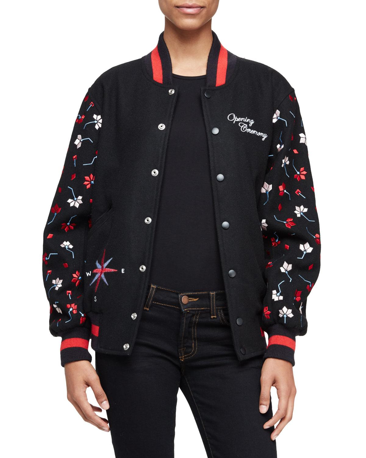 Opening ceremony embroidered varsity jacket in black lyst