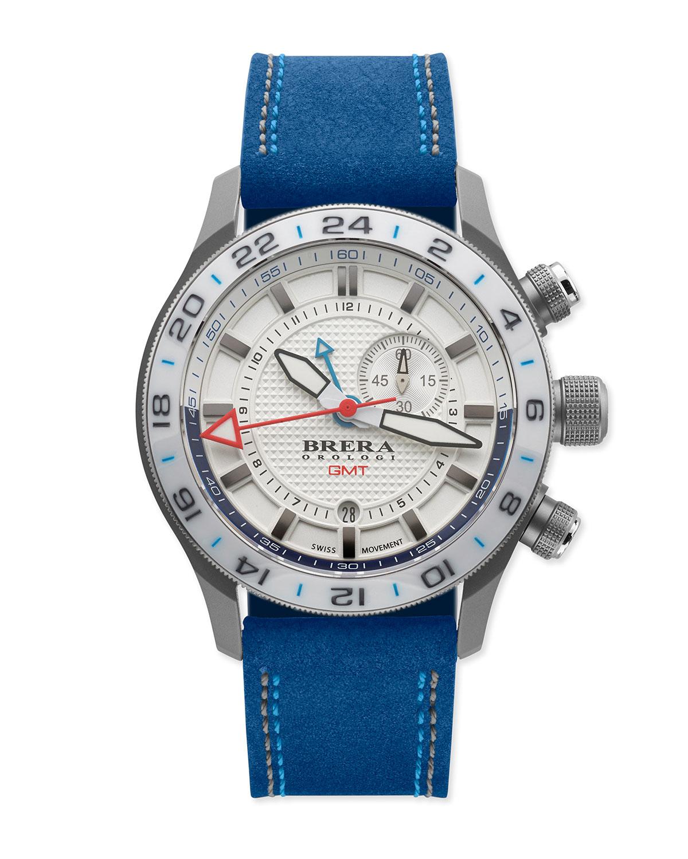 Brera orologi Eterno Gmt Watch With Suede Strap in Blue ...