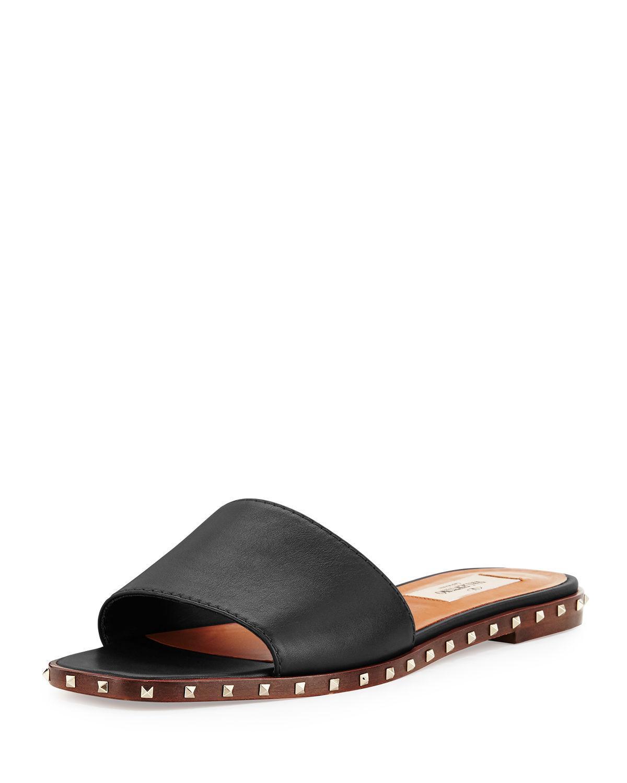 Valentino Soul Rockstud Leather Slide Sandal in Black