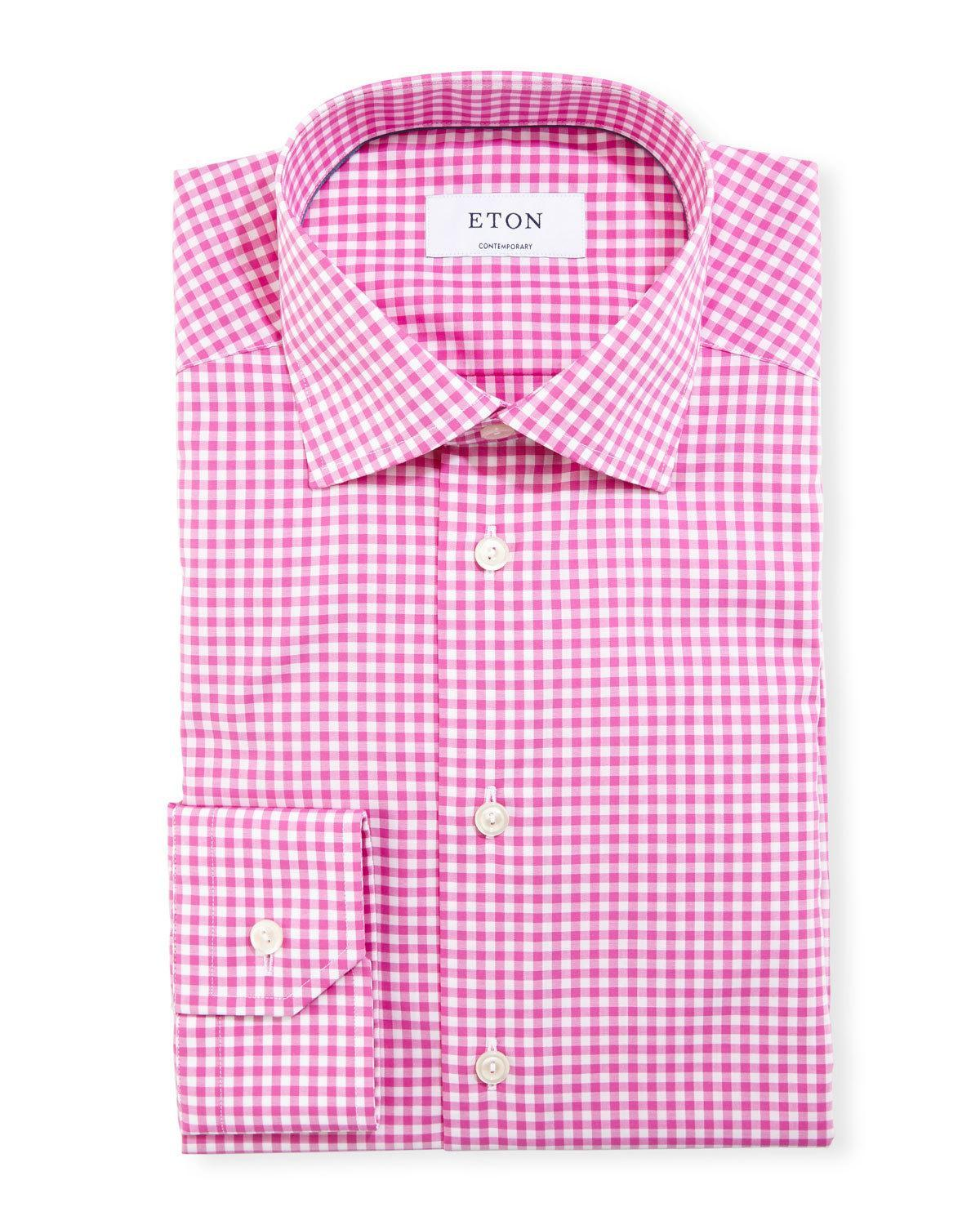 Eton of sweden contemporary fit gingham dress shirt in red for Men s red gingham dress shirt