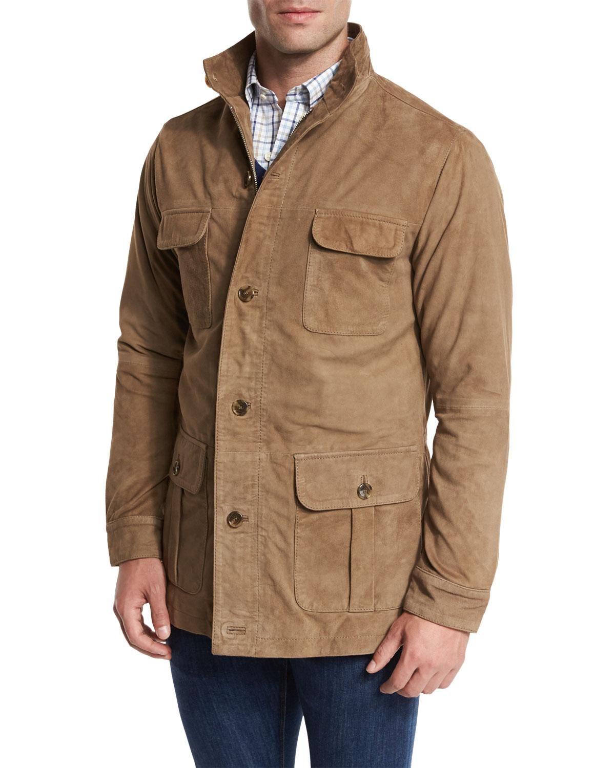 Peter Millar Suede Safari Jacket In Natural For Men Lyst