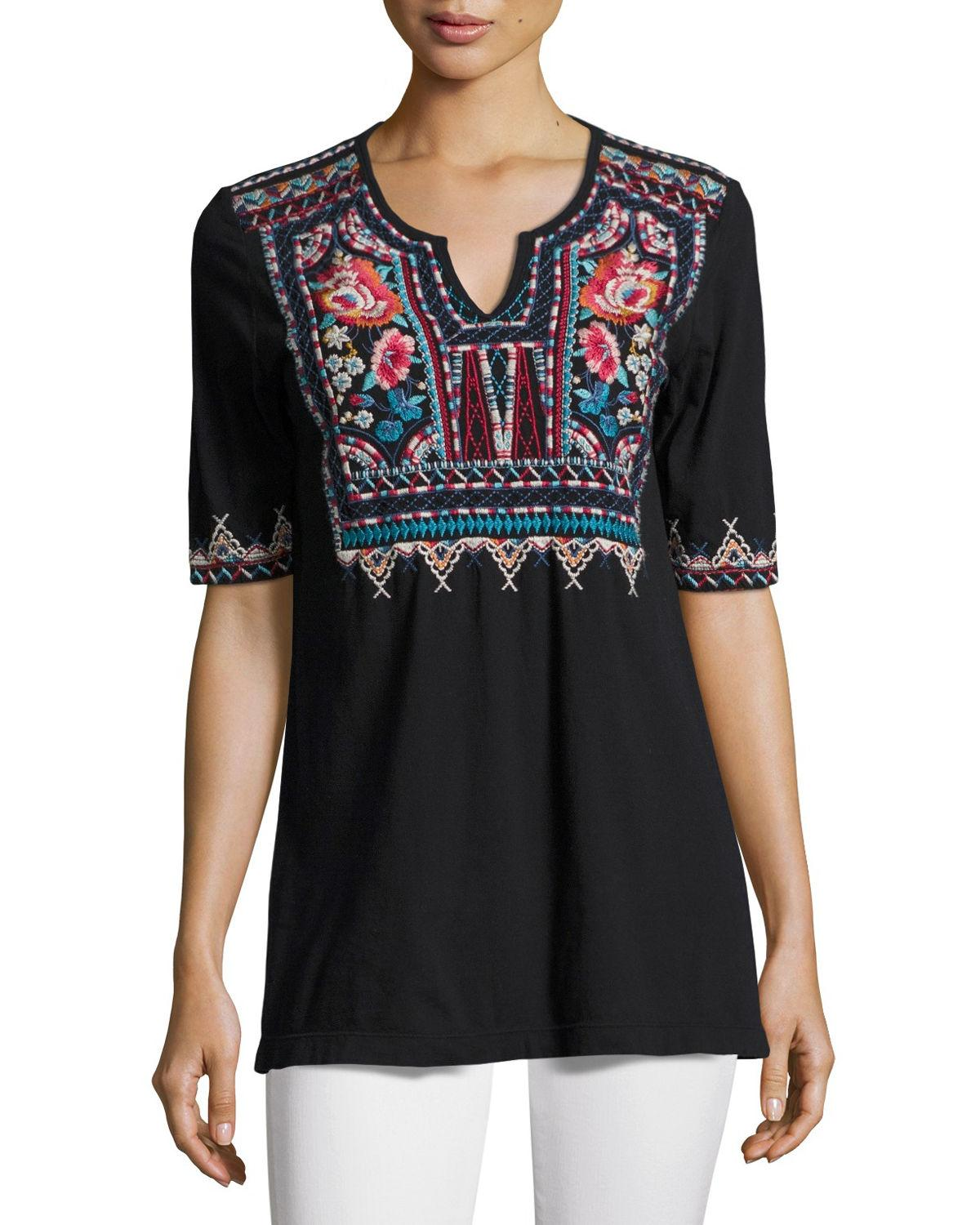 Johnny Was Mina Boho Embroidered Easy Tunic In Black Lyst