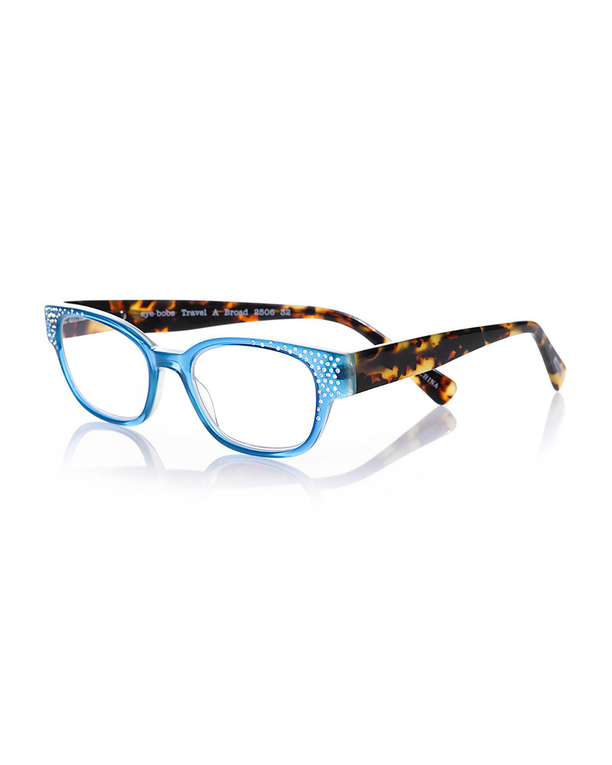 d0c1487c1e Lyst - Eyebobs Study Abroad Square Rhinestone Readers in Blue