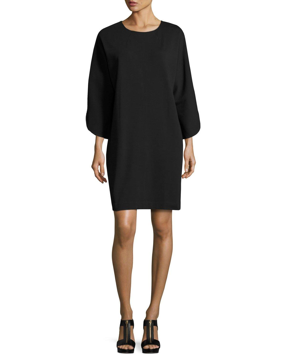 Joan Vass Tulip-sleeve Cotton-interlock Dress In Black