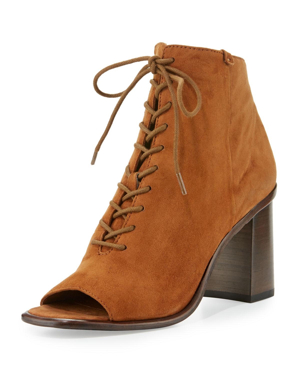 Lyst Frye Amy Open Toe Lace Up Bootie In Brown