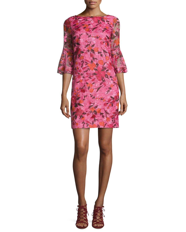 Badgley mischka sleeve floral silk shift dress in pink
