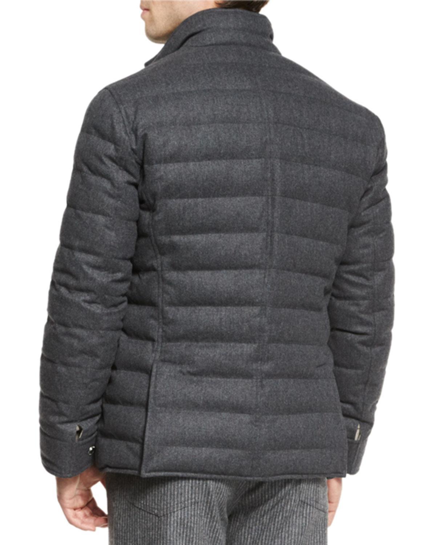 Brunello Cucinelli Quilted Wool Blend Blazer Jacket For