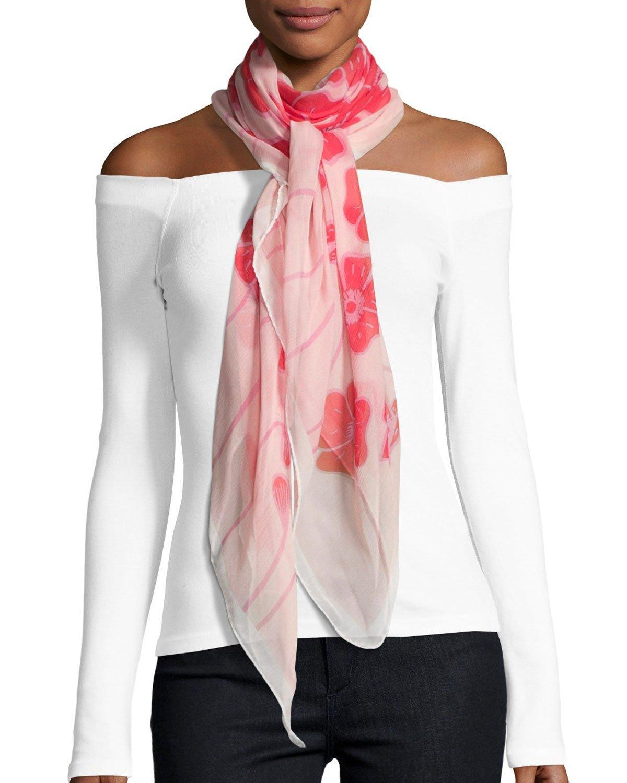 coroneo silk chiffon square poppy scarf in lyst
