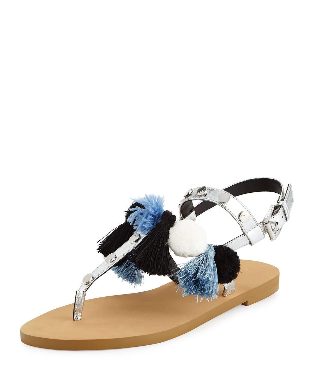 Rebecca Minkoff Estelle Pompom Tassel Flat Sandal In