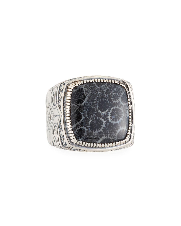 Konstantino Heonos Mens Oval Black Coral Ring 04PeB