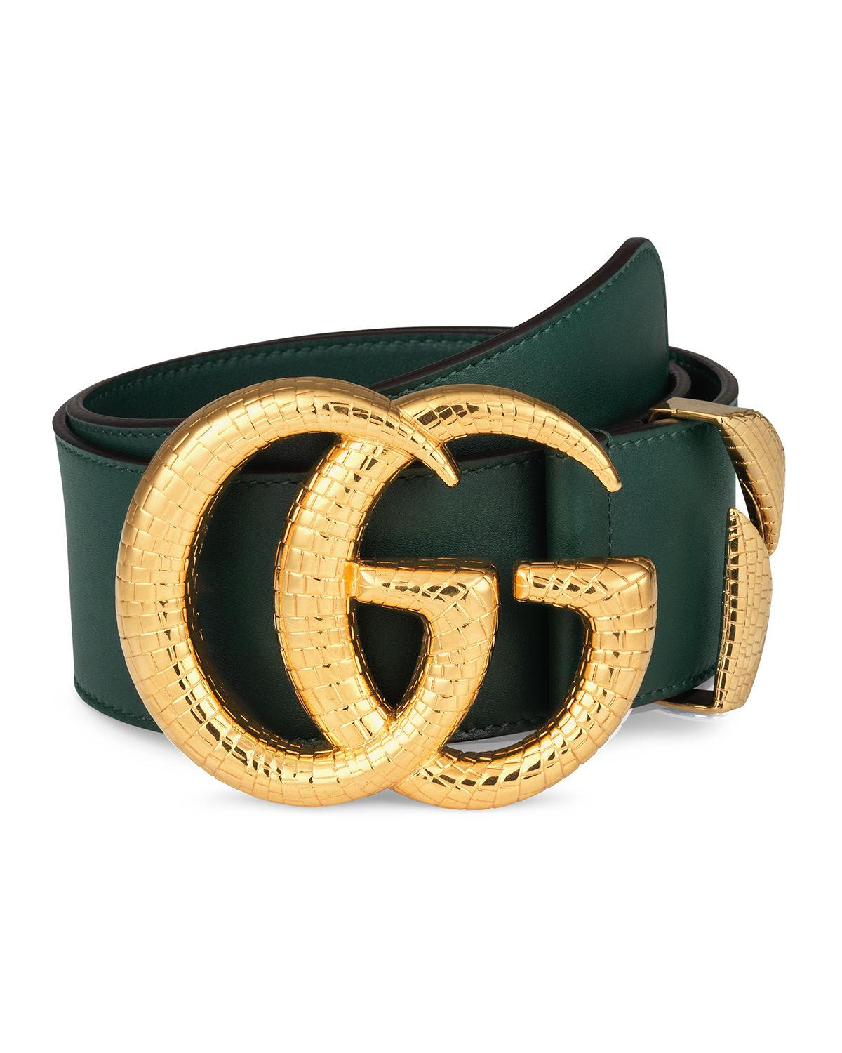 d48c0f244e74 Lyst - Gucci Smooth Leather Belt W/ Double G Buckle in Green