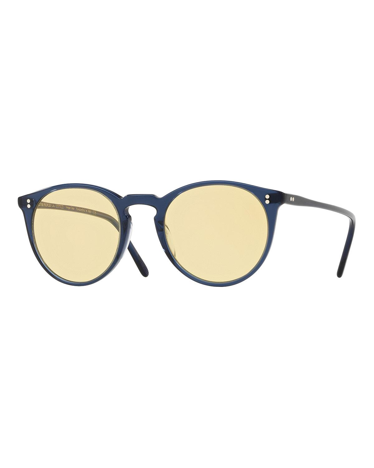 14f93ebf31 Lyst - Oliver Peoples O malley Peaked Round Sunglasses in Blue